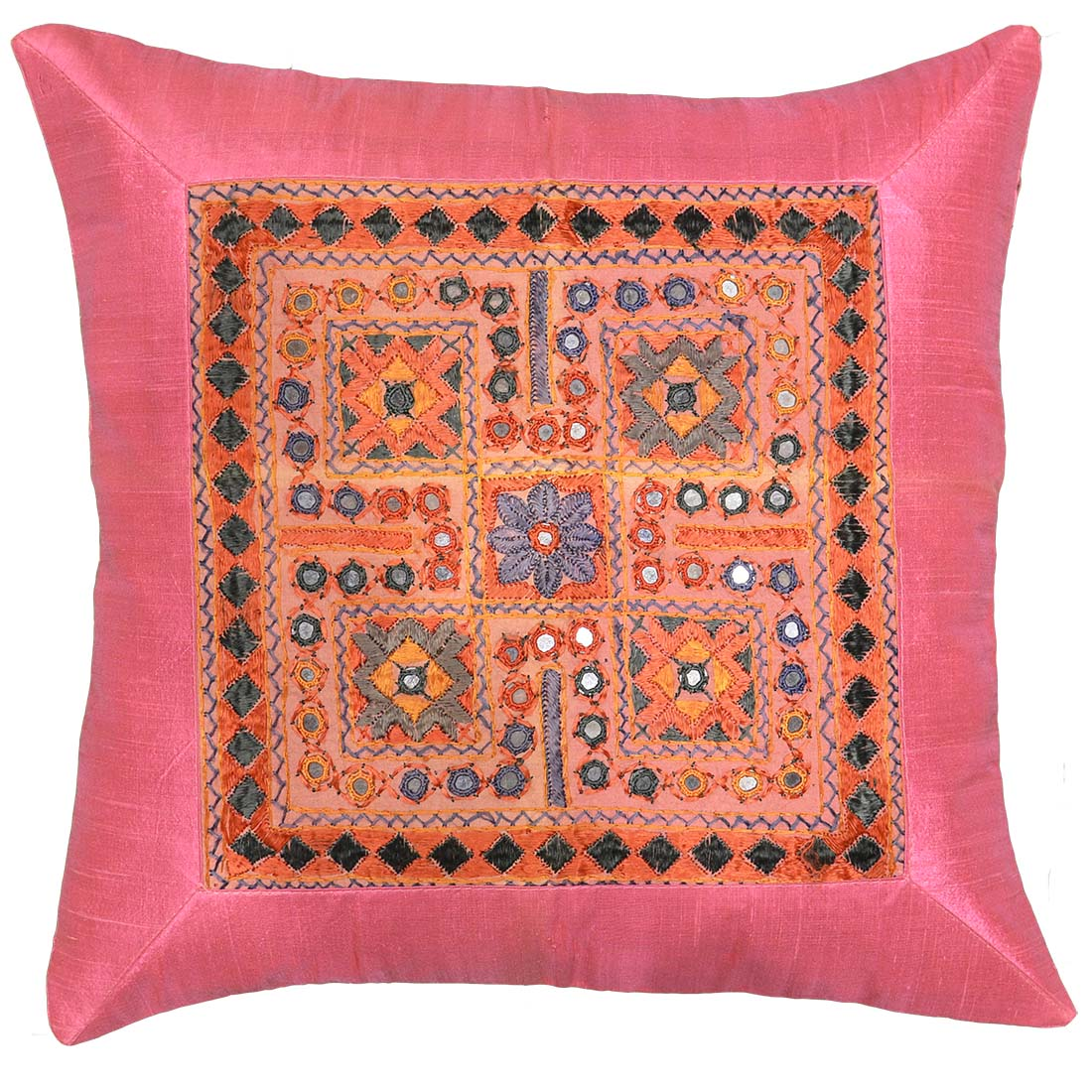 pink sofa throw billige sovesofaer med chaiselong silk coral accent zardozi pillow cover 16 quot x