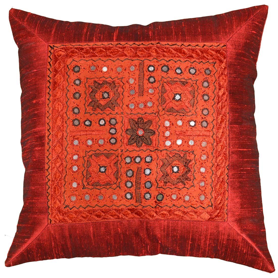 designer sofa pillows house of fraser linea bed silk burgundy red accent zardozi pillow cover 16 quot x