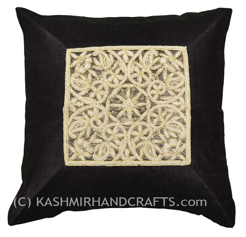 gold sofa throw pillows barker stonehouse reviews silk beige accent zardozi pillow cover 16
