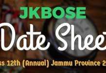 JKBOSE Date Sheet for Class 12th (Annual) Jammu Province 2017