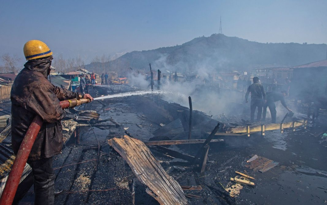 Two houseboats were gutted in Dal Lake
