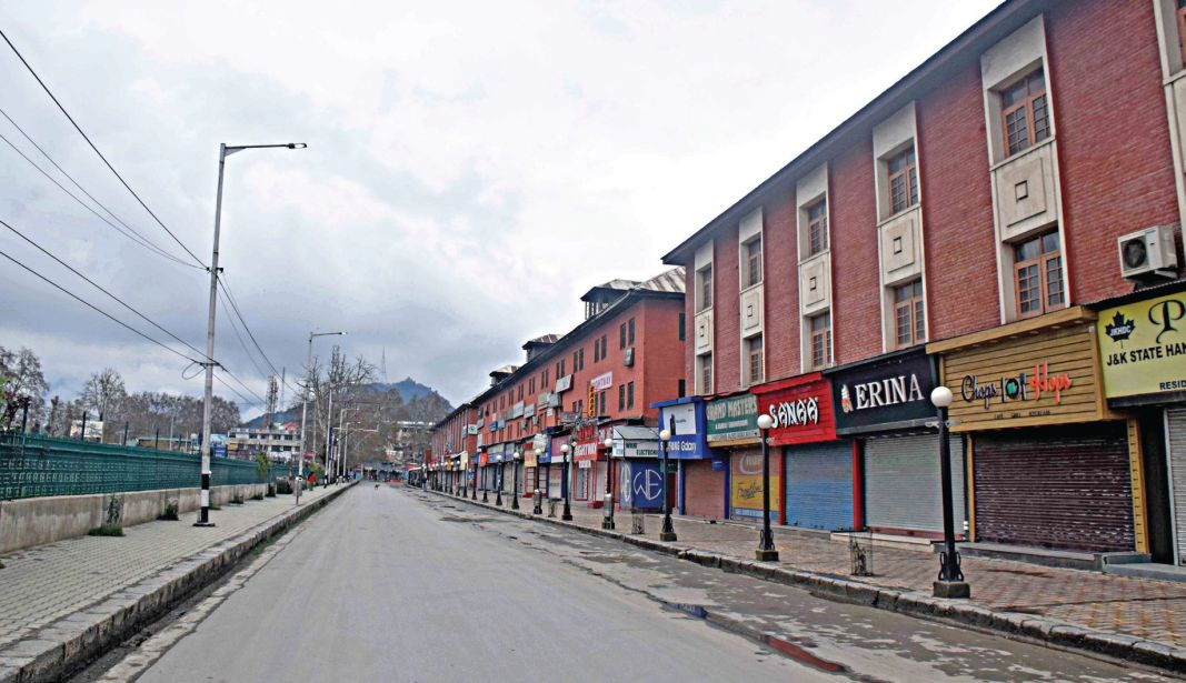 Deserted Residency Road in Srinagar
