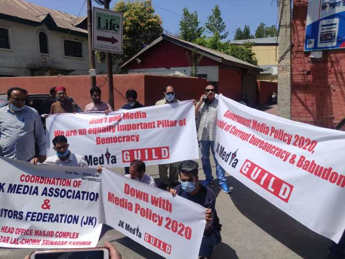 Protest against New Media policy in Srinagar