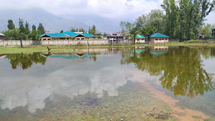 Youth call for dewatering of Iqbal Stadium in Pampore