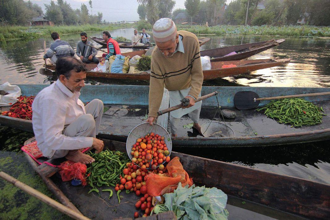 Vegetable vendors making purchases at floating market in Srinagar