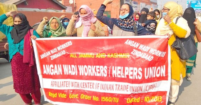 Anganwadi workers, helpers protest, seek timely wages