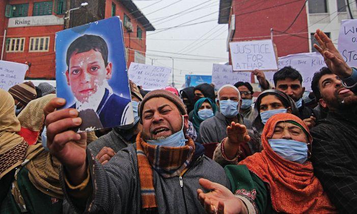 Lawaypora 'encounter': Families protest at press enclave, demand bodies for last rites