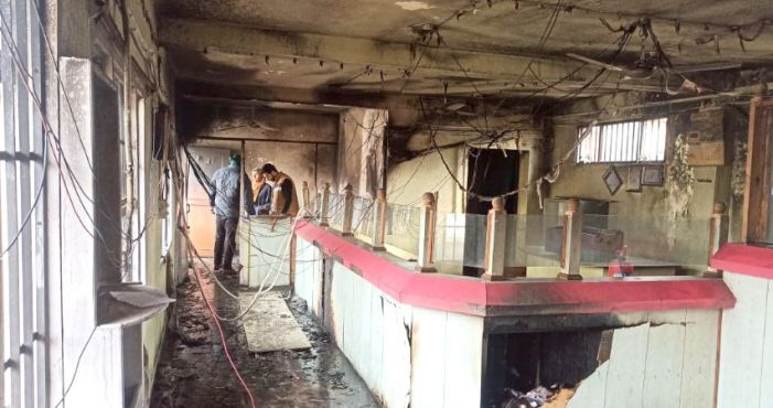 Anantnag Central Cooperative bank branch gutted in fire incident at Pampore, cash record safe