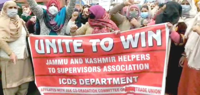 Helpers hold protest, demand timely release of their payments