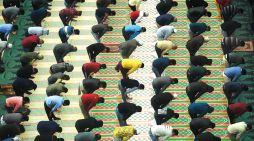 Amid social distancing, people offer prayers in a mosque in Srinagar on the first day of Ramadan