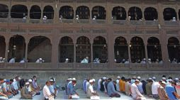 People offer prayers at Khanqah in Srinagar