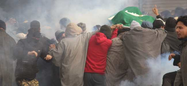 In Pictures: Funeral of slain Sopore militant tear gassed, clashes erupt