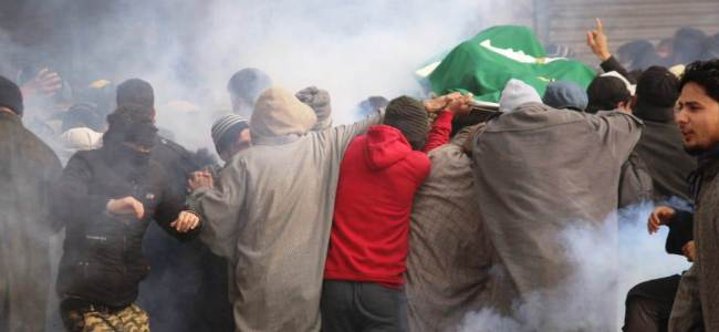 Protests in Sopore during the funeral procession of slain militant