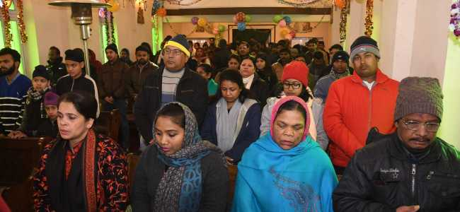 Christian devotees during a special prayer at the Catholic Church in Srinagar on Tuesday   -KV Photo