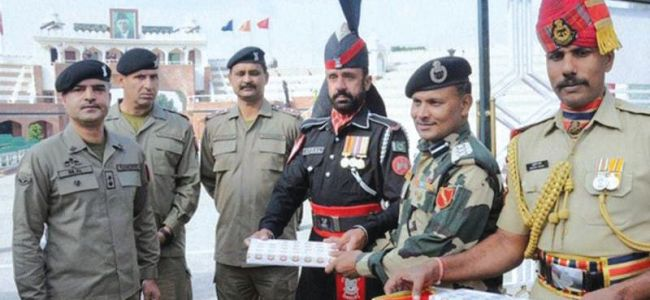 Sweets exchanged at Attari