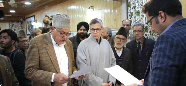 LS polls: NC President Farooq Abdullah files nomination papers for Srinagar