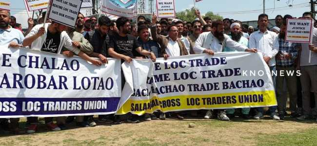 Ban on Loc trade: Traders stage protest in Srinagar, seek revocation of order