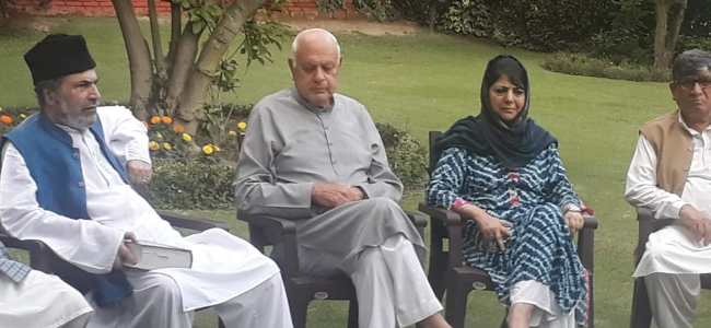 Mainstream political parties meet at Farooq Abdullah's residence going on