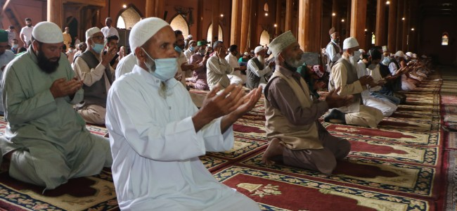 Congregational prayers were offered on Friday in Srinagar's historic Jamia Masjid by following Covid-appropriate behaviour after a gap of four months.