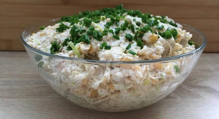 , Sałatka ryżowa z kurczakiem i porem