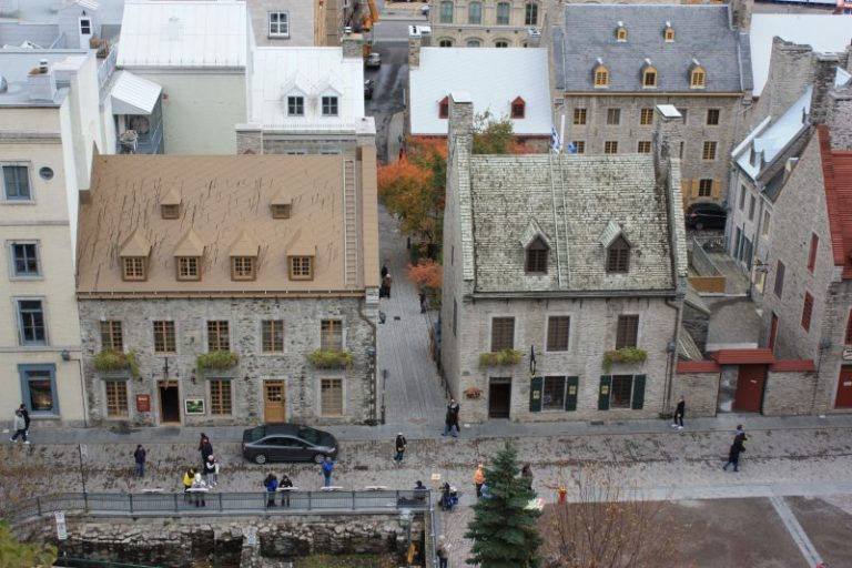 looking down at historic homes in Quebec City