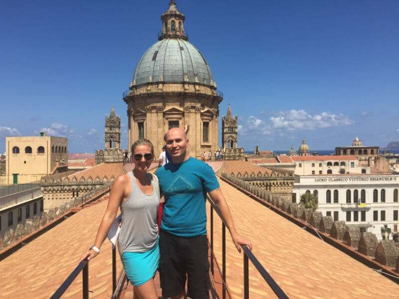 on the rooftop of Palermo cathedral