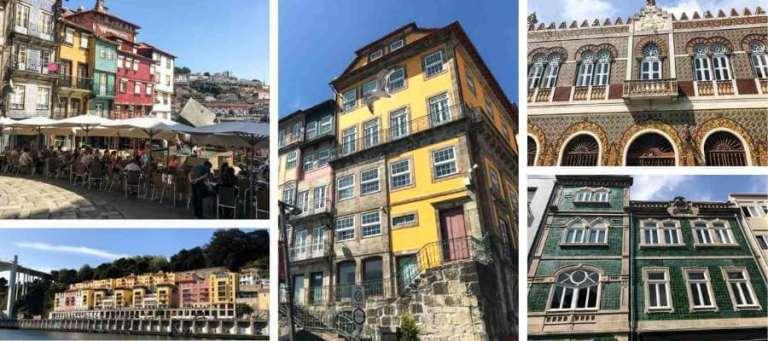 collage of building facades in Porto