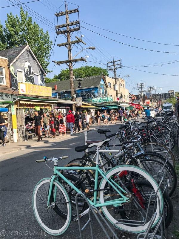 bikes parked on street at Kensington Market