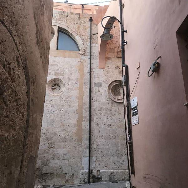 pink walls of buildings in Cagliar