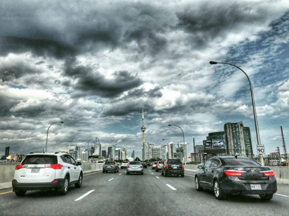 traffic on a highway in Toronto