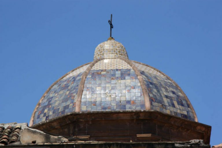 tiled dome of a church