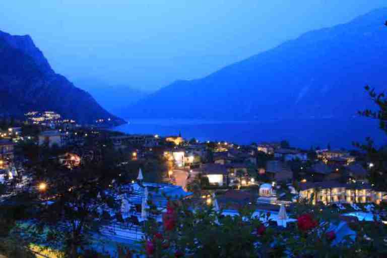 night view of Limone Sul Garda in Italy