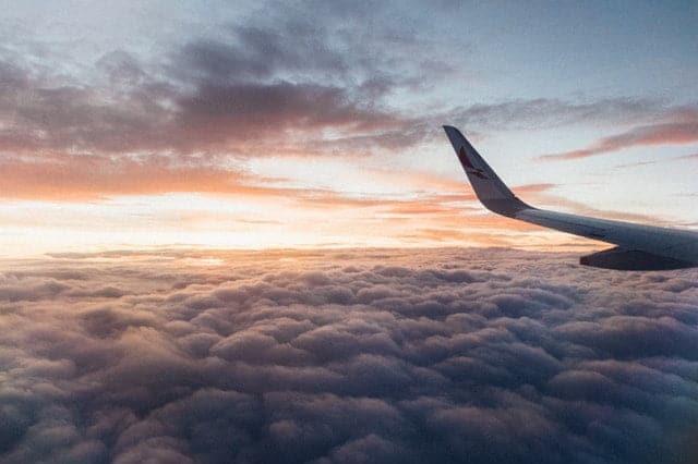 looking outside plane window