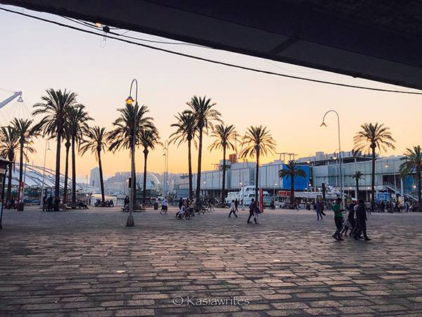 visit Genoa waterfront at sunset