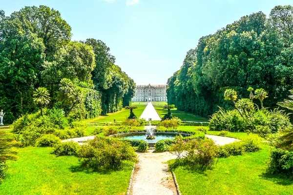 looking at the Royal Palace of Caserta from the garden