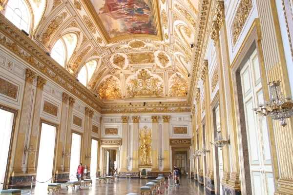 room decorated with gold Royal Palace of Caserta