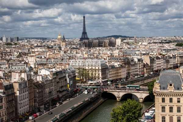 aerial view of Paris with Eiffel Tower in the background