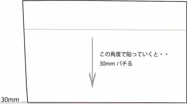 この仮の墨と並行に貼っていくとすると、30mmバチることになります