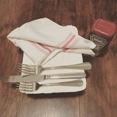 Tonight's to-go food order came with a full bottle of ketchup, real silverware, and a linen napkin. I kind of, I kind of want to drive it back to them...? July 20