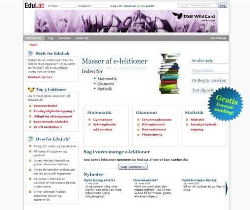Et screen dump engang i perioden 2006-2009 hvor fokus var de studierelaterede fag inden for økonomi.