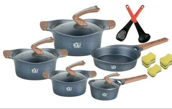 Marble coated nonstick pots grey