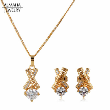 Fashion Jewellery 18k Copper Cubic Zirconia Bridal Jewelry Set Necklace