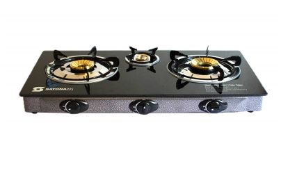 Sayona SB-308-Automatic 3 burner glass gas top(Red/Black)