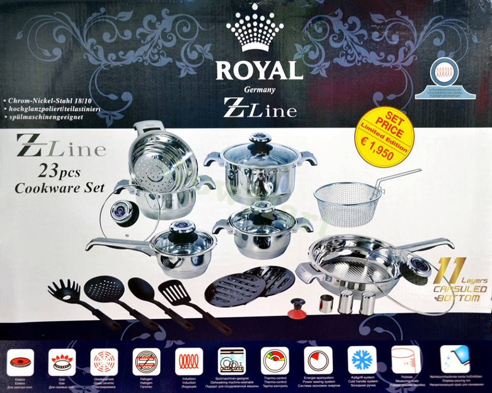 23pcs Stainless steel cookware set
