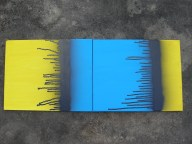 "Designed to make Harry's ""red"" couches stand out. Diptych painting series painted by Kassandra Bowers Lakazdi spray paint drips bold colour primary black blue yellow multiple"