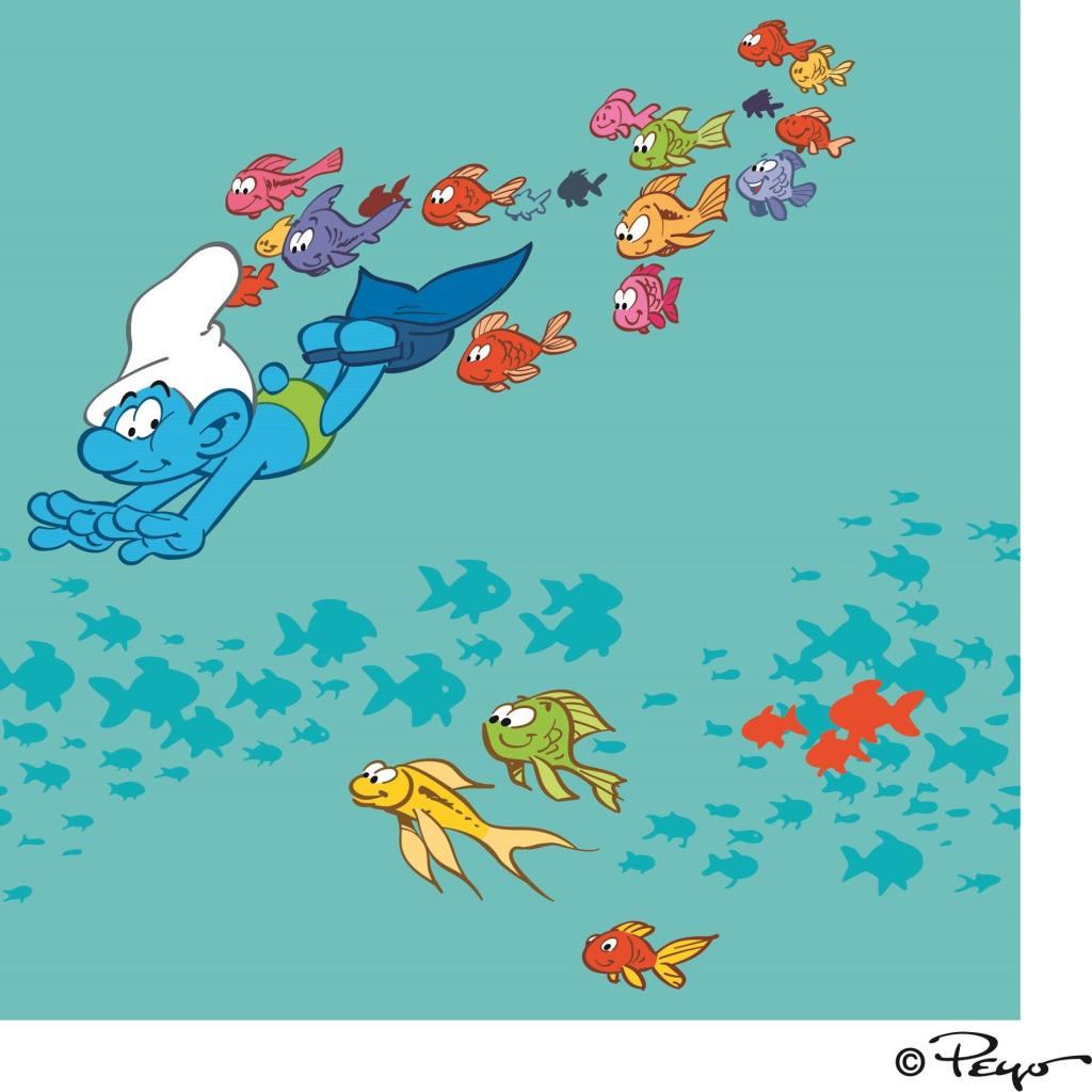 Ενα στρουμφάκι κολυμπάει