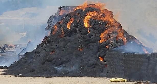 Kastamonu'da 150 ton saman balyası alev alev yandı