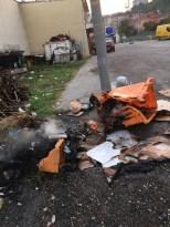 Kastamonu'da çöp kutularını ateşe verdiler