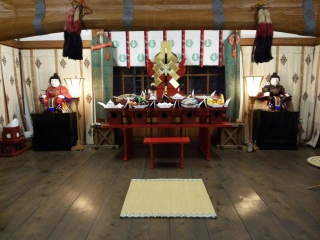 荒川神社新嘗祭 前夜の準備を終えた拝殿