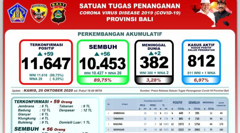 Update Covid-19 Bali 29 Oktober, Ada Penambahan Pasien Positif 59 Kasus, Sembuh 56 dan Meninggal 2 Orang